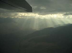 Flying into the Rocky Mountains of Idaho to raft the snake river.