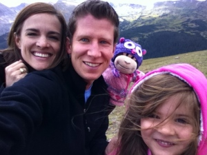 In the mountains this week.  Those are Big Horn sheep behind Anna.